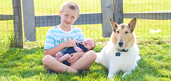 Young boy holds baby and sits next to dog in grass.